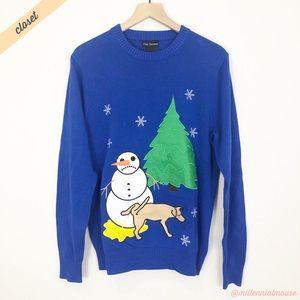 [Alex Stevens] Blue Snowmen Ugly Christmas Sweater